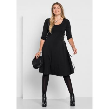 Kleid mit dekorativer Schnürung, schwarz, Gr.40-58
