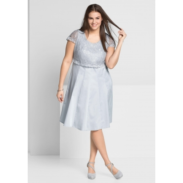 Kleid mit edlem Spitzenoberteil, lichtgrau, Gr.44-58