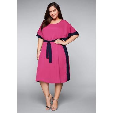 Kleid mit Farbkontrasten und Bindegürtel, fuchsia, Gr.44-58