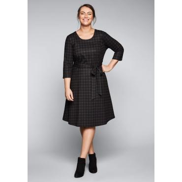 Kleid mit fixiertem Bindegürtel, Karo, Gr.44-58