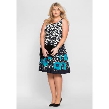 Kleid mit floralem Alloverdruck, dunkelblau-türkis, Gr.40-58