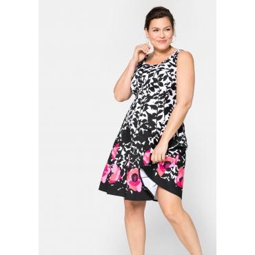 Kleid mit floralem Alloverdruck, schwarz-weiß, Gr.40-58