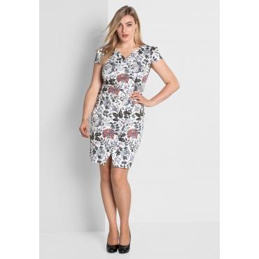 Kleid mit floralem Alloverdruck, weiß bedruckt, Gr.40-58