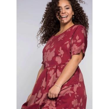 Kleid mit formendem Innenkleid zum Herausknöpfen, rubinrot bedruckt, Gr.44-58