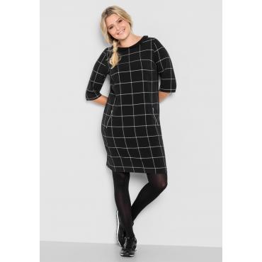 Kleid mit kariertem Muster, schwarz-weiß, Gr.40-58