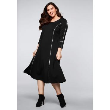Kleid mit kontrastfarbenen Teilungsnähten, schwarz, Gr.44-58
