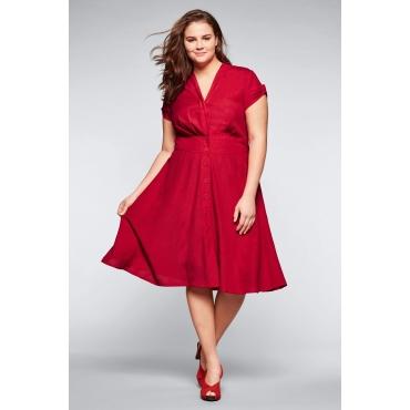 Kleid mit Leinenanteil in A-Linie, rot, Gr.44-58
