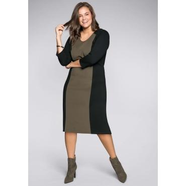 Kleid mit modischen Applikationen, dunkelkhaki, Gr.44-58