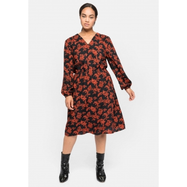 Kleid mit Ornament-Alloverdruck, schwarz bedruckt, Gr.40-58