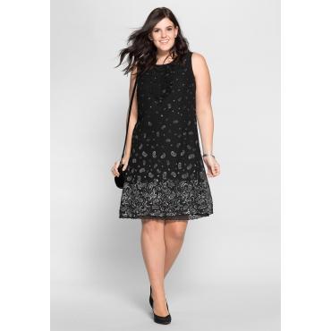 Kleid mit Paisleydruck, schwarz-weiß, Gr.40-58