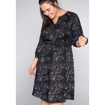 Kleid mit Paisleydruck und Raglanärmeln, schwarz bedruckt, Gr.44-58