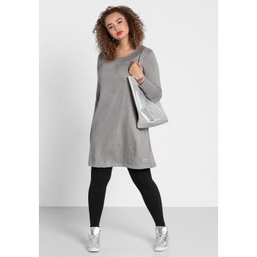 Kleid mit rundem Smok-Ausschnitt, steingrau, Gr.40-58