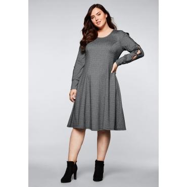 Kleid mit Schlitzen und Zierknöpfen am Ärmel, schwarz, Gr.44-58