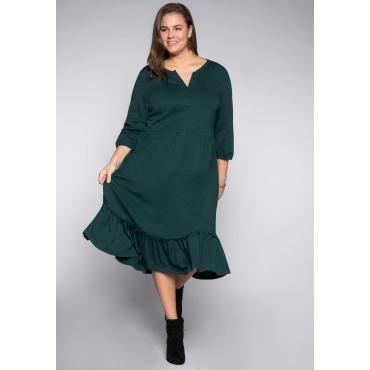 Kleid mit schwingendem Rock und Volant, tiefgrün, Gr.44-58