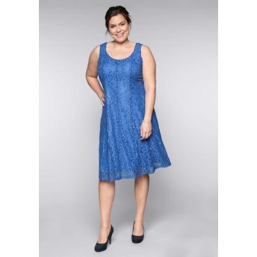 Kleid mit Spitze, azurblau, Gr.44-58