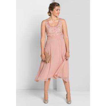 Kleid mit Spitze, puderrosé, Gr.40-58