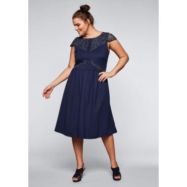 Kleid mit Spitze und Flügelärmeln, marine, Gr.44-58