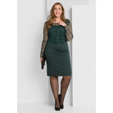 Kleid mit Spitzenoberteil, tiefgrün, Gr.40-58