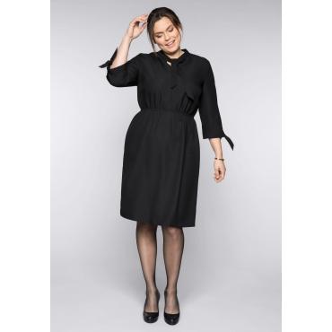Kleid mit Stehkragen und Bindeband, schwarz, Gr.44-58