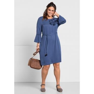 Kleid mit Stickerei, rauchblau, Gr.44-58