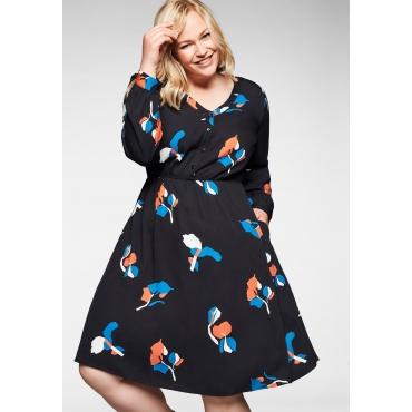 Kleid mit Taillennaht und Blumendruck, schwarz bedruckt, Gr.40-58