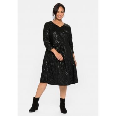 Kleid mit tonalem Animal-Print, mit langem Arm, schwarz, Gr.40-58