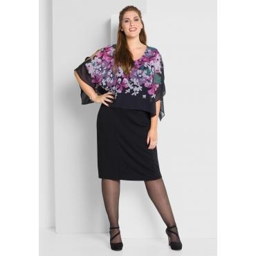 Kleid mit Überwurf, schwarz, Gr.40-58