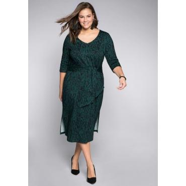 Kleid mit V-Ausschnitt und Bindeelement, tiefgrün, Gr.44-58