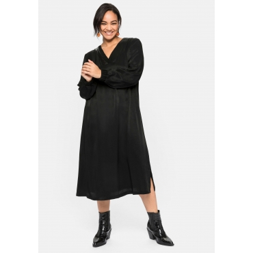 Kleid mit V-Ausschnitt und Lederimitateinsatz, schwarz, Gr.40-58