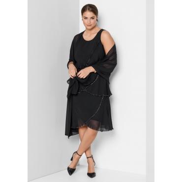 Kleid mit Volants, schwarz, Gr.40-58