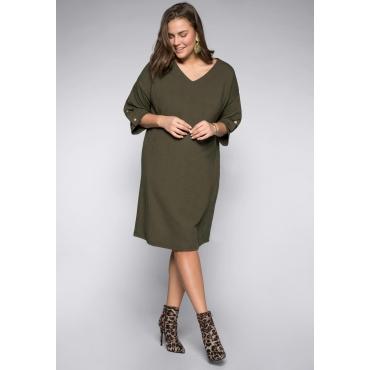 Kleid mit Zierdruckknöpfen am 3/4-Arm, dunkelkhaki, Gr.44-58
