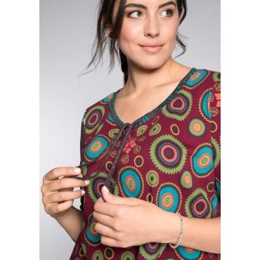 Langarmshirt aus Baumwolle mit verschiedenen Drucken, bordeaux bedruckt, Gr.44/46-56/58