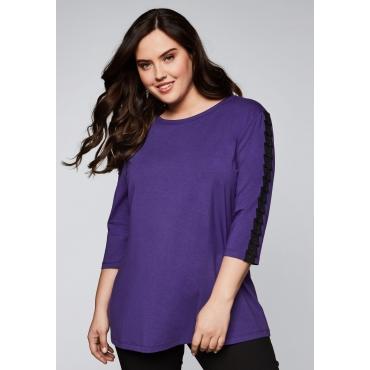 Shirt aus Modalmischung mit Nieten, lila, Gr.44/46-56/58