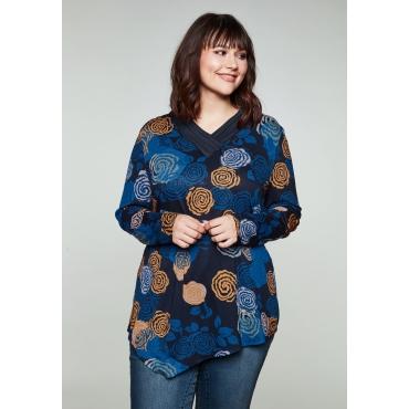 Langarmshirt mit Blumendruck und Zierknöpfen, dunkelblau bedruckt, Gr.44/46-56/58