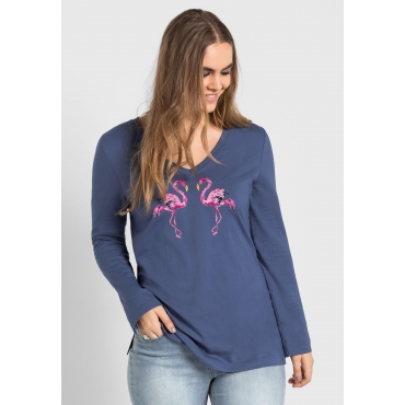Langarmshirt mit Flamingo-Stickerei, rauchblau, Gr.40/42-56/58