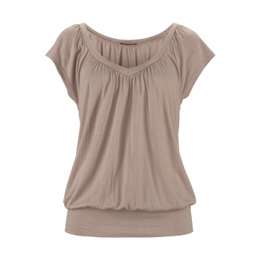 V-Shirt, taupe, Gr.40/42-52/54