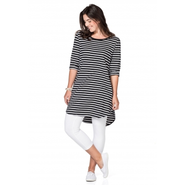 Longshirt in Oversize-Form mit Streifen, schwarz-weiß, Gr.40/42-56/58
