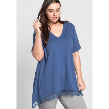 Longshirt in Zipfelform mit Spitze vorn, rauchblau, Gr.44/46-56/58