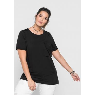 Longshirt mit Brusttasche und kurzen Ärmeln, schwarz, Gr.40/42-56/58