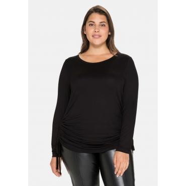 Longshirt mit Raffungen am Saum, aus Jersey, schwarz, Gr.40/42-56/58
