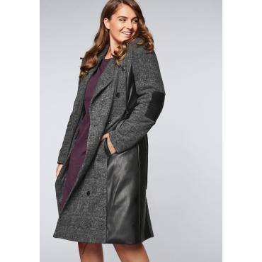 Mantel im Karomuster mit Schalkragen, grau-schwarz, Gr.44-58