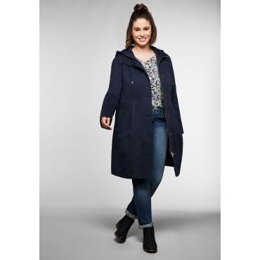 Mantel in A-Linie, mit hoher Taille und Kapuze, nachtblau, Gr.40-58