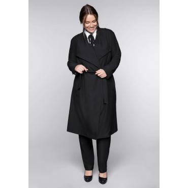 Mantel in leicht ausgestellter Form mit großem Kragen, schwarz, Gr.44-58