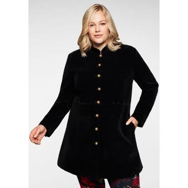 Mantel in Samt-Qualität, mit Stehkragen, schwarz, Gr.40-58