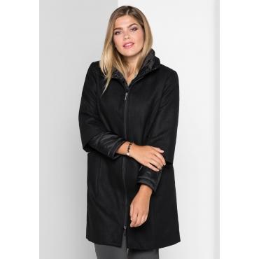 Mantel in Woll-Optik, schwarz, Gr.40-58