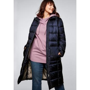 Mantel mit Eingrifftaschen und Stehkragen, marine, Gr.44-58