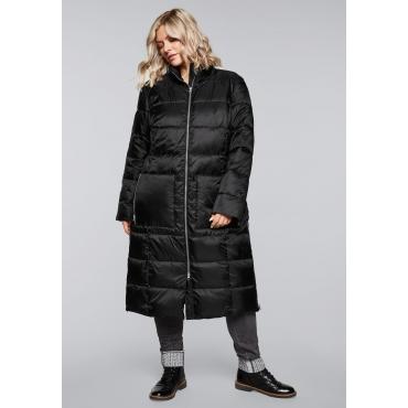 Mantel mit Eingrifftaschen und Stehkragen, schwarz, Gr.44-58