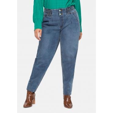 Mom-Jeans OLIVIA mit Bundfalten und Kontrastnähten, blue used Denim, Gr.40-58