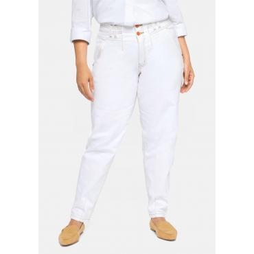 Mom-Jeans OLIVIA mit Bundfalten und Kontrastnähten, offwhite, Gr.40-58