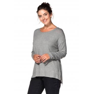 Oversized Pullover mit Zipper, grau meliert, Gr.40/42-56/58